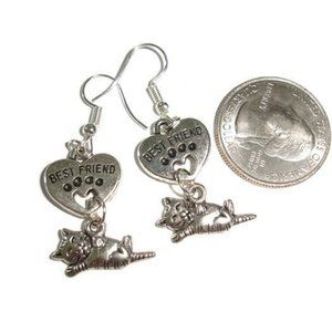 I love my cat dangle earrings cat earrings pet